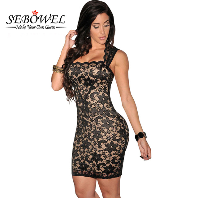 Sebowel 2017 elegante lace short black dress verão sem mangas sexy clube vestidos mulheres lace bodycon party dress vestido de festa