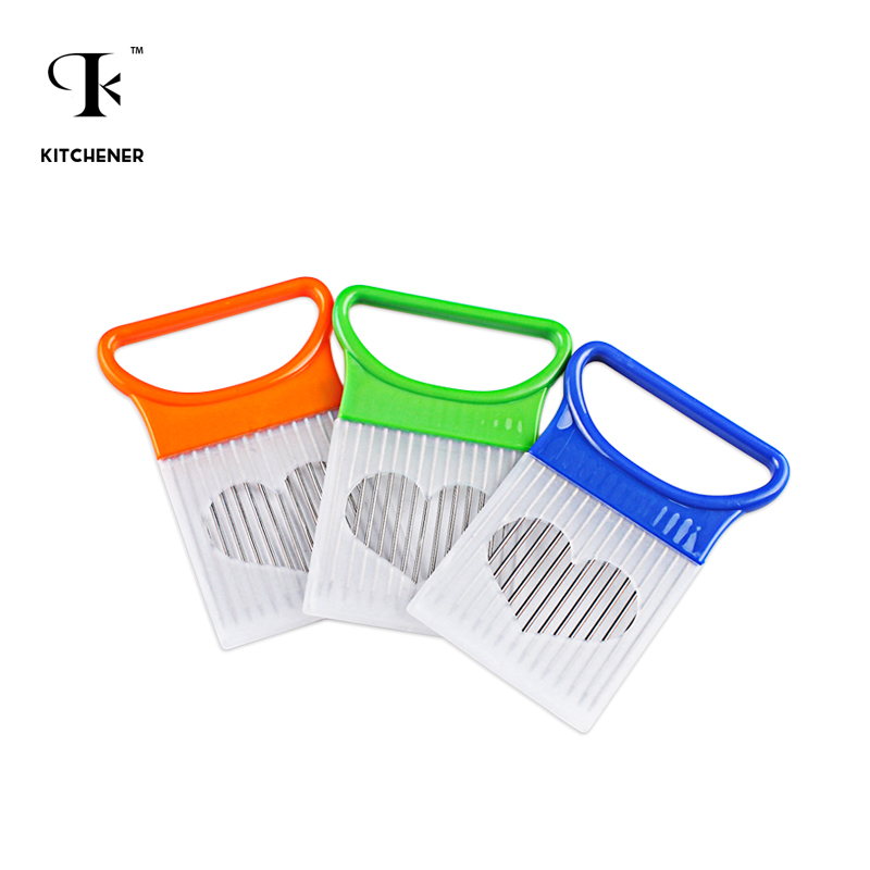 1 pcs Easy Cut Onion Holder Fork Stainless Steel +Plastic Vegetable Slicer Tomato Cutter Metal Meat Needle Meat Frok