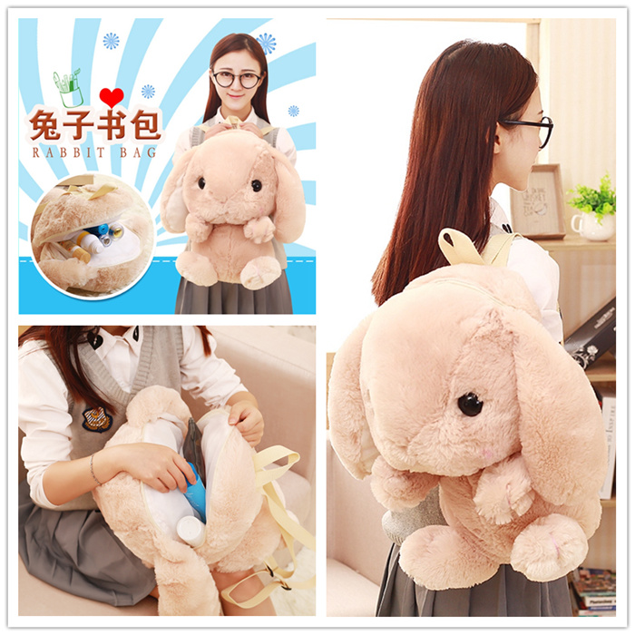 Candice guo plush toy stuffed doll long ear rabbit bunny Amuse Lolita Loppy backpack baby shoulder bag schoolbag package gift stuffed animal 44 cm plush standing cow toy simulation dairy cattle doll great gift w501
