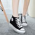 Горячая Продажа 2016 женщин Белые Туфли Высокой Платформе Повседневная Обувь Качество Женщины Холст Обувь для Девочек