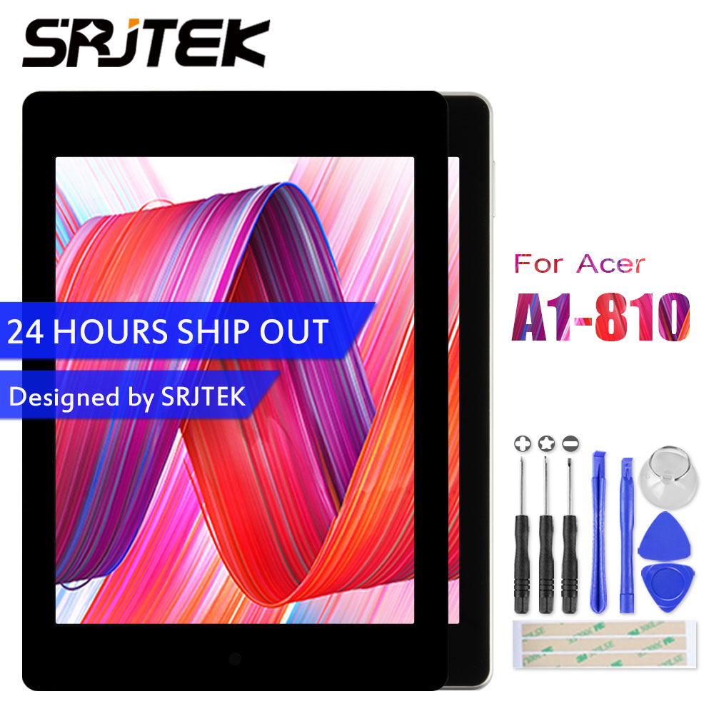 Srjtek For Acer Iconia tab A1-810 A1 810 A1-811 A1 811 LCD Display Touch Screen Matrix Digitizer Tablet PC Assembly with Frame