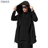 FGKKS Men Hooded Sweatshirts With Black Gown Best Quality Hip Hop Mantle Hoodies Fashion Jacket Long