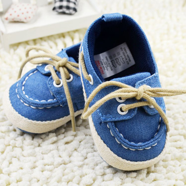 Toddler Boys Girls First Walkers Soft Sole Crib Canvas Shoes Lace up Sneaker font b Baby