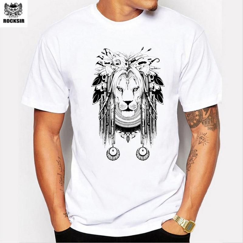 Rocksir Brand Men T Shirt Casual Indian Lion Printed Tee