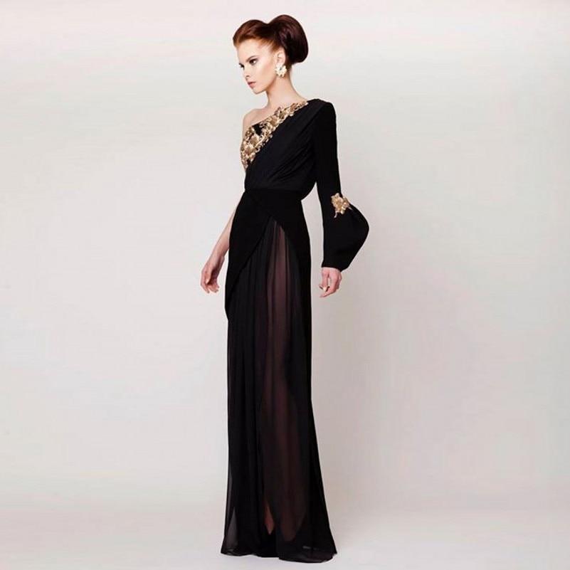 Soie Dreses Robes Sexy Fente Abiye Noire Robe Mousseline Une Perlée Or Épaule De Formelle Soirée En 77qUxwpf