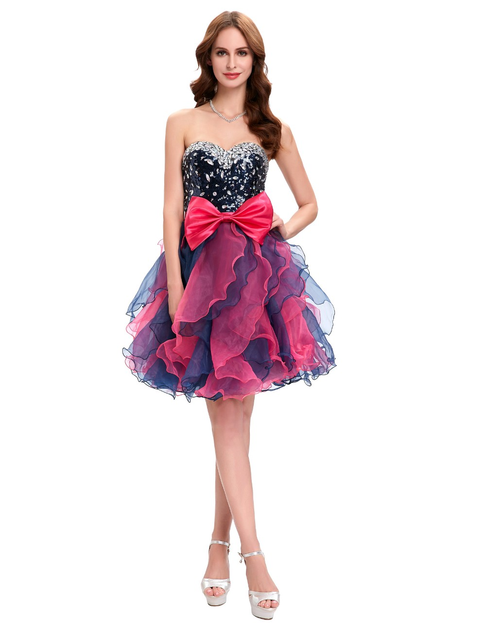 Grace Karin Short Prom Dress Ball Gown Robe De Cocktail Colorful Sequin Organza Prom Gowns Sexy Party Special Occasion Dress 6