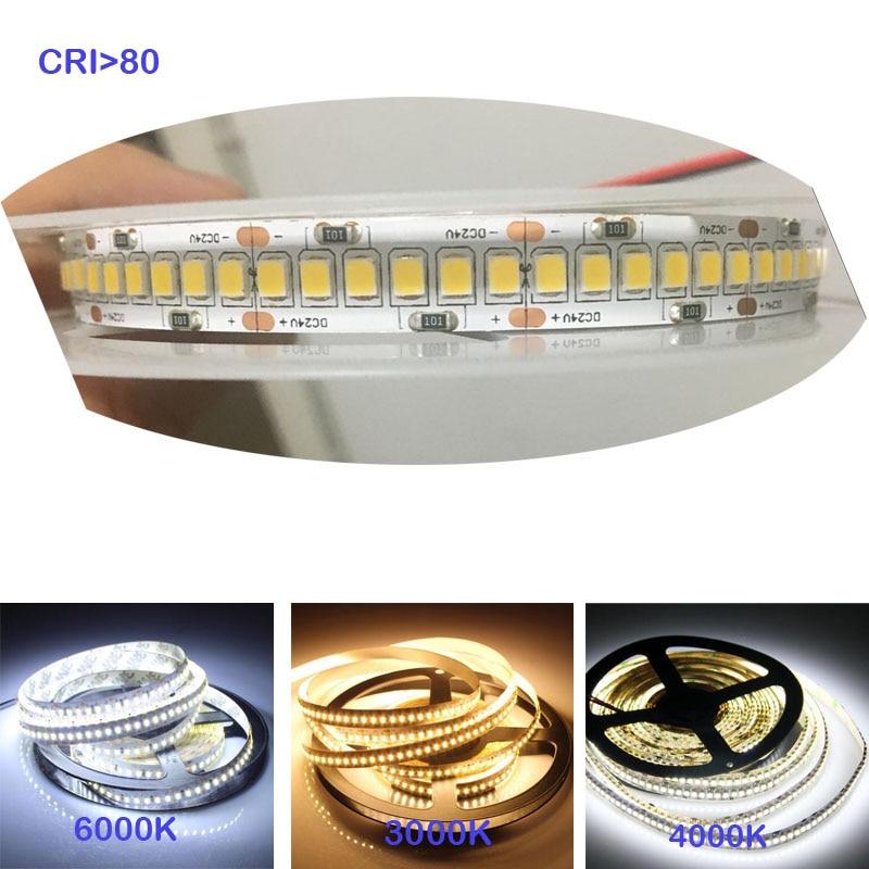 High brightness 1800lm/m  CRI>80 5m 1200 LED 2835  LED sttrip,24v  12V Flexible Llight 240 led/m LED strip White/Warm white