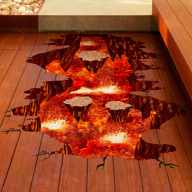 [SHIJUEHEZI] Magma 3D Wall Sticker Home Decor Living Room Bedroom Floor Decoration Removable Vinyl Material Decorative Art