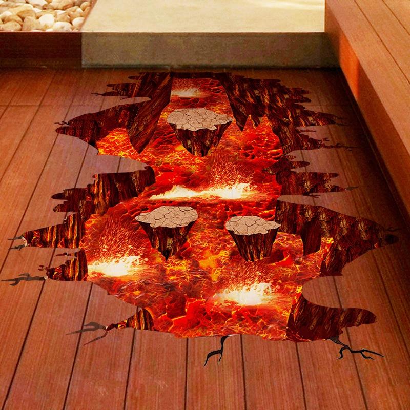 [SHIJUEHEZI] Magma 3D Wandaufkleber Wohnkultur Wohnzimmer Schlafzimmer Boden Dekoration Abnehmbare Vinyl Material Dekorative Kunst