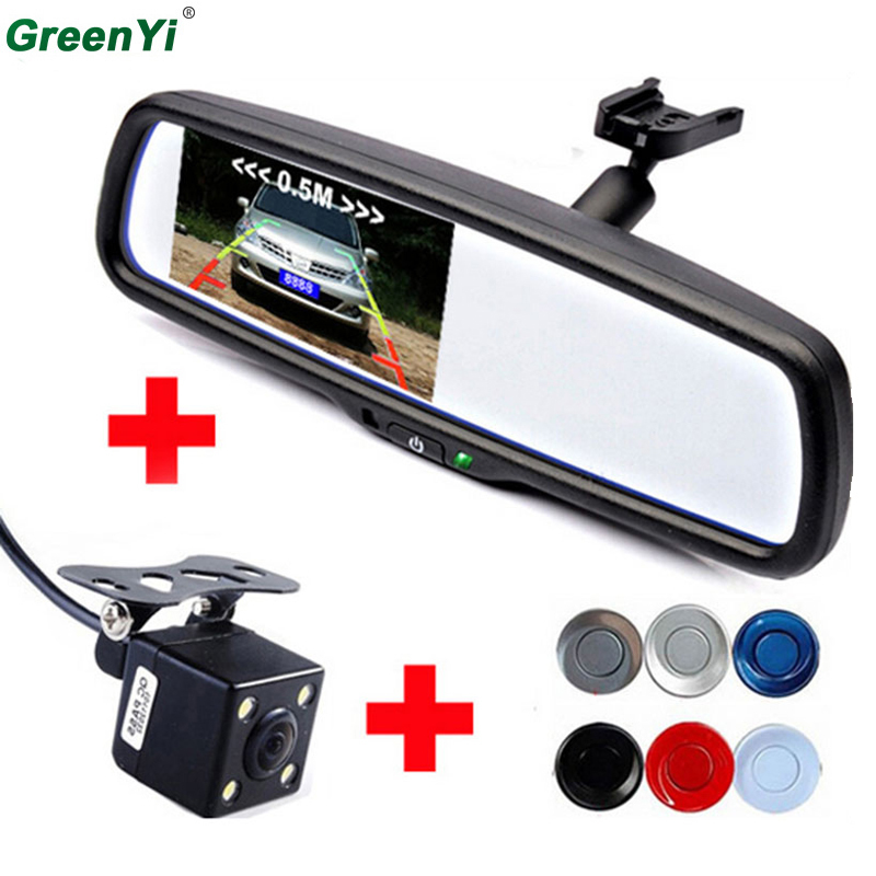 3 in1 4.3 Car Rearview Mirror Monitor   CCD Rear View Camera   Car Video Parking Sensors. Display Rearview Image and Distance