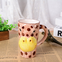 3D stereo hand painted cartoon animals mug office large-capacity ceramic water cup children drinkware Christmas gift