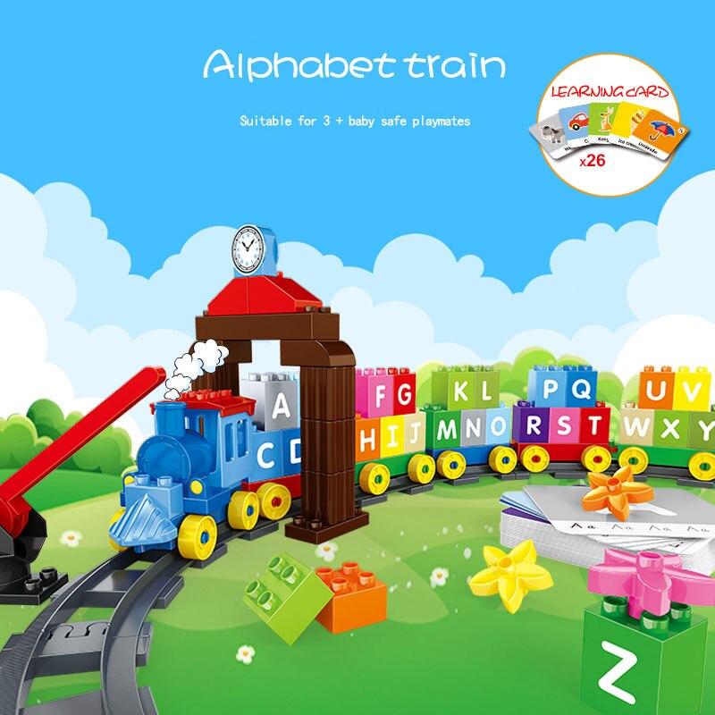 Alphabet lettre Train blocs de construction grande taille Duploed chemin de fer bébé début jouets éducatifs briques avec cartes