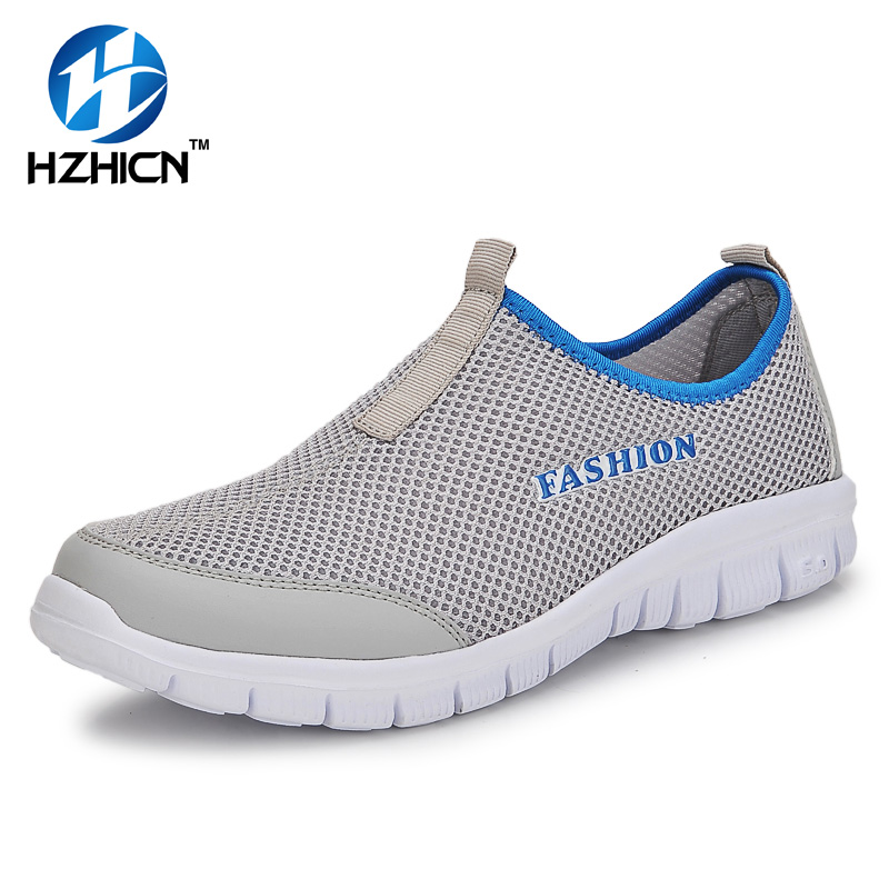HZHICN 2017 Unisex Lover Shoes Summer Casual Men Shoe Breathable Network Shoes man Slip On Flats For Man Loafers 35-46 tangnest summer couple casual shoes lazy mesh network shoe men foot wrapping big size 34 46 slip on breathable shoe
