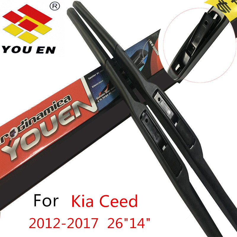 YOUEN Auto Car Wiper Blades For Kia Ceed 2012 2013 2014 2015 2016 2017 Natural Rubber Windscreen Wipers Car Accessories Styling wiper blades for vw golf 7 fit push button arms 2012 2013 2014 2015 2016 26 18 windscreen windshield silicone rubber car wiper