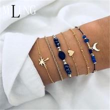 MLING  Fashion Moon Shape Bracelet  Multilayer beadsBracelets For Women 2019 New Bracelet For Girls chic shark teeth shape embellished bracelet for women