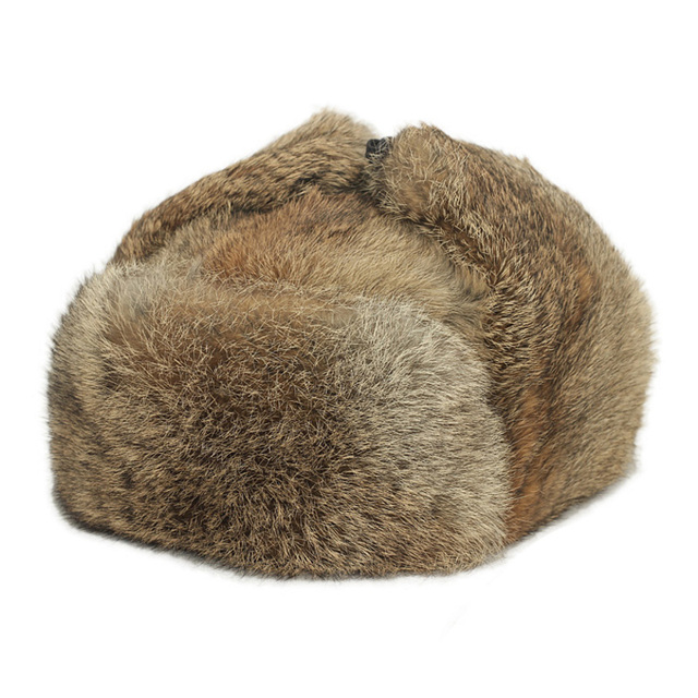 ZDFURS* New Men's/Women's 100% Real Rabbit Fur Warm Hat/Russian Bombers Guard Cheek Hat cap
