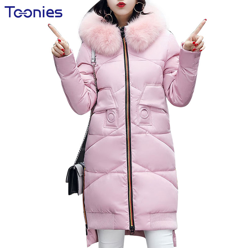 New 2017 Winter Jacket Women Cotton Coat Fur Collar Hood Parka Female Long Jackets Thick Warm Outerwear chaqueta mujer  M-XXXL maxi coats thicken winter jacket women 2017 fur collar over knee long winter jacket parka warm cotton coat chaqueta mujer c2601