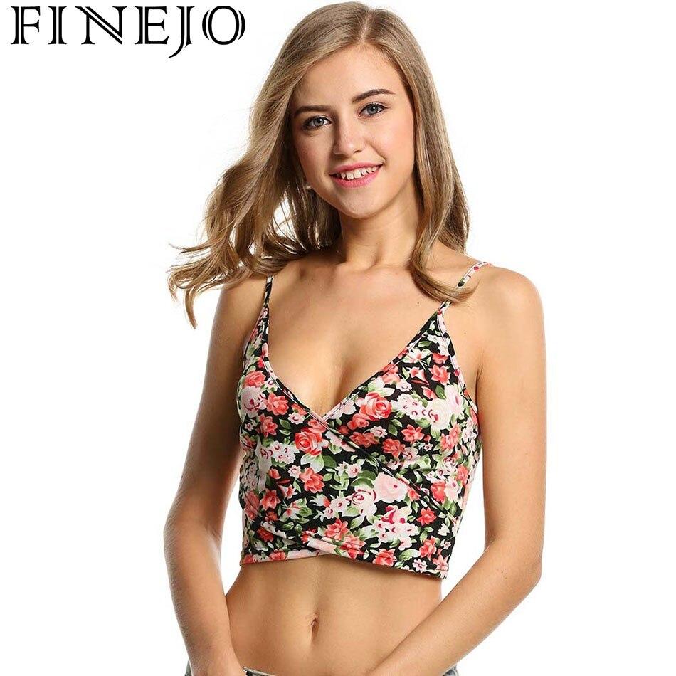 FINEJO Femmes Dames Sangle Col V Imprimé floral Camisoles Bohême Style Casual Club Slim Crop Tops 2018 T-shirt Tops Blouse Printemps