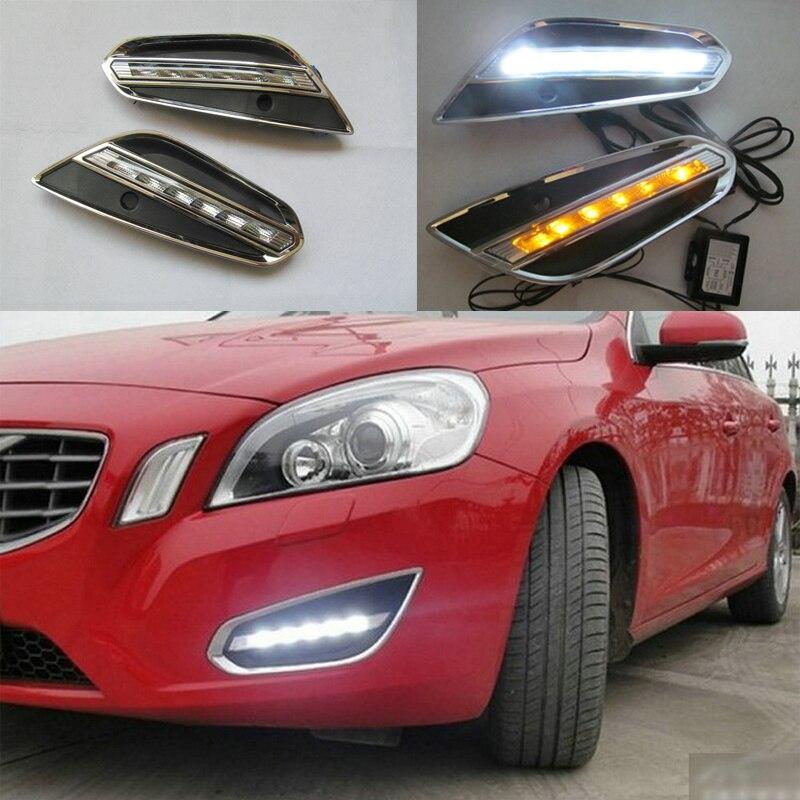 For Volvo S60 V60 2011 2012 2013, Light Off Style Relay Waterproof Matte ABS Car DRL 12v Daytime Running Lights LED Daytime Runn