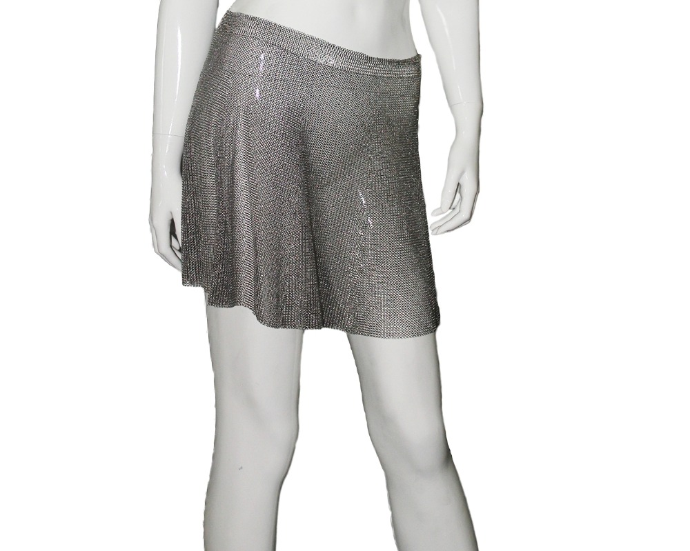 Shinny stainless steel chain mail mesh skirt sexy skirt