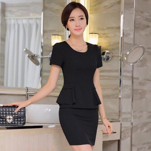 0295d4311de (Top+Skirt) Women s Summer Two Piece Set Office Uniform Designs Women  Package Hip
