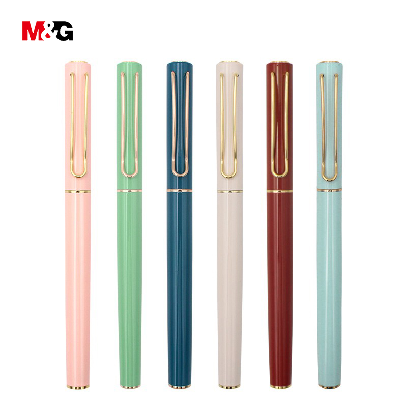 M&G 6 colors Elegant Metal fountain ink pen for school supplies quality nib Sample office pens for writing stationery luxury pen italic nib art fountain pen arabic calligraphy black pen line width 1 1mm to 3 0mm