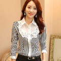 2014 Autumn Women Slim Long-sleeve Clothing Basic Strip Chiffon Office Shirt Work Wear Top Lace Patchwork Fashion Blouse Shirts