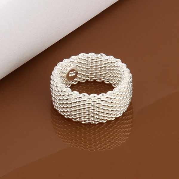 free shipping silver plated charm Women lady mesh ring,new fashion jewellery charm silver ring jewelry gift R040