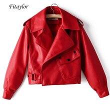 Fitaylor Новая Осенняя женская куртка из ПУ-кожзаменителя мотоциклетная Байкерская красная куртка отложной воротник Свободная уличная черная верхняя одежда в стиле панк