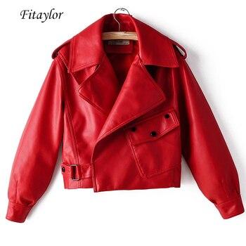 سترة نسائية Fitaylor جديدة من الجلد الصناعي لفصل الخريف معطف أحمر للدراجة النارية مع ياقة واسعة ملابس خارجية سوداء اللون