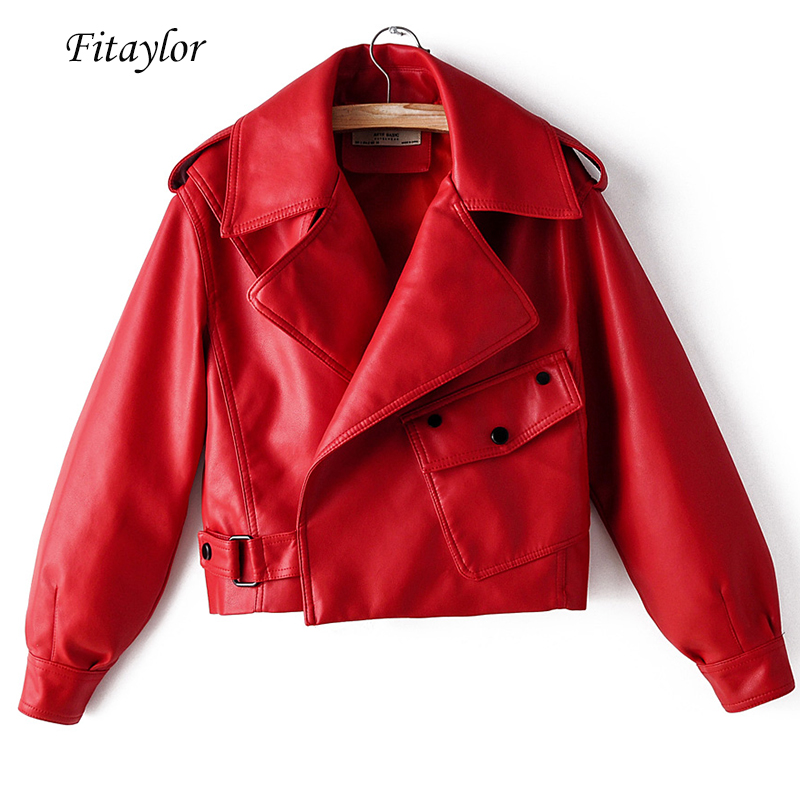 Fitaylor New Autumn Women Faux Leather Jacket Pu Motorcycle Biker Red Coat Turndown Collar Loose Streetwear Black Punk Outerwear