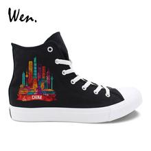 Wen Shanghai Guangzhou Beijing Hongkong Landmarks China Cities Designs Black High Tops Man Shoes Women Canvas Sneakers Zapatos