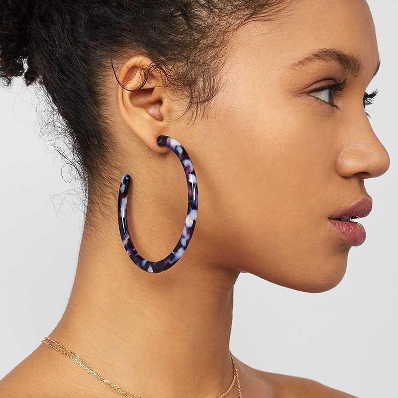 2019 Colorful Acetate Acrylic Circle Hoop Earring For Women Leopard Print Resin Geometric Big Earring Fashion za Jewelry Gift