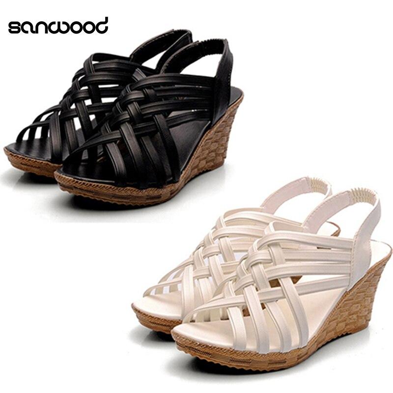 Hot New Women Fashion Pumps Platform High Heels Wedges Casual Cross Strap Hollow Sandals fashionable women s sandals with platform and hollow out design