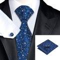 SN-1545 Оптовая Шелковые Галстуки Ручной Работы Синий Цветочный Узор Gravatas Hankerchief Запонки Набор для Мужчины Бизнес Свадьба
