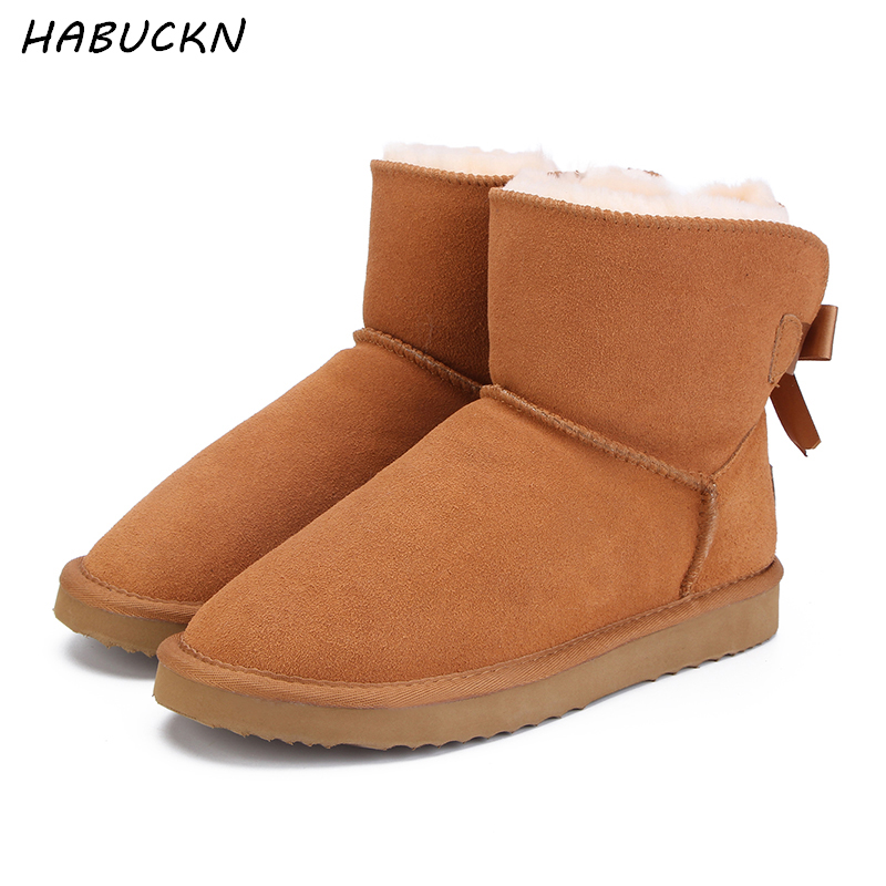 HABUCKN Mode natur Äkta läder pälsfodrade tjejer korta snöstövlar för kvinnor vinterskor lägenheter storlek 34-44