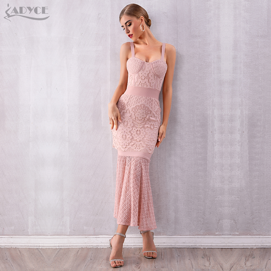 Adyce 2020 New Women Lace Bandage Dress Vestidos Sexy Sleeveless Spaghetti Strap Club Dress Elegant Celebrity Party Runway Dress