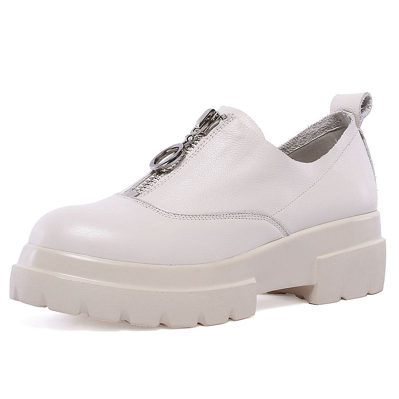 Size42 Luxe Compensées Femme Marque De Vache Vulcanisées Coins Sneakers En Zipper Élégant Chaussures Femmes Beige Décontracté noir Mocassins Cuir À Semelles 5qARL34j