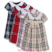 Whole Sales Classic Design England Style Plaid Cotton Dress For Baby Cute Tennis Dress For Kids