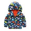 2016 Otoño Chaqueta de Los Niños Niños niñas Imprimir dinosaurio Niños Bebés Prendas de Abrigo y Abrigos 2-5 Años Los Niños Rompevientos Impermeable ropa