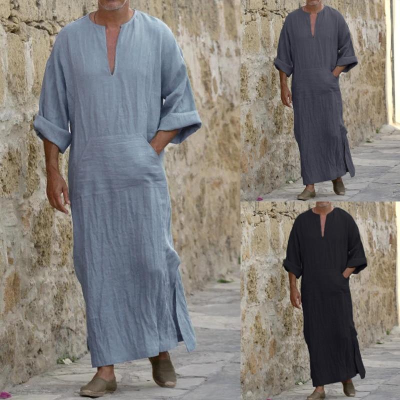 2020 Men Islamic Kaftan Cotton Long Robe Dress Long Sleeve Pockets V-neck Lounge Men Islamic Arab Kaftan Long Pajamas Robe 5XL