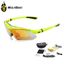 Cycling Eyewear WOLFBIKE Mens Polarized Cycling Sun Glasses Outdoor Sports Bicycle Glasses Bike Sunglasses Goggles 5 Lens Green