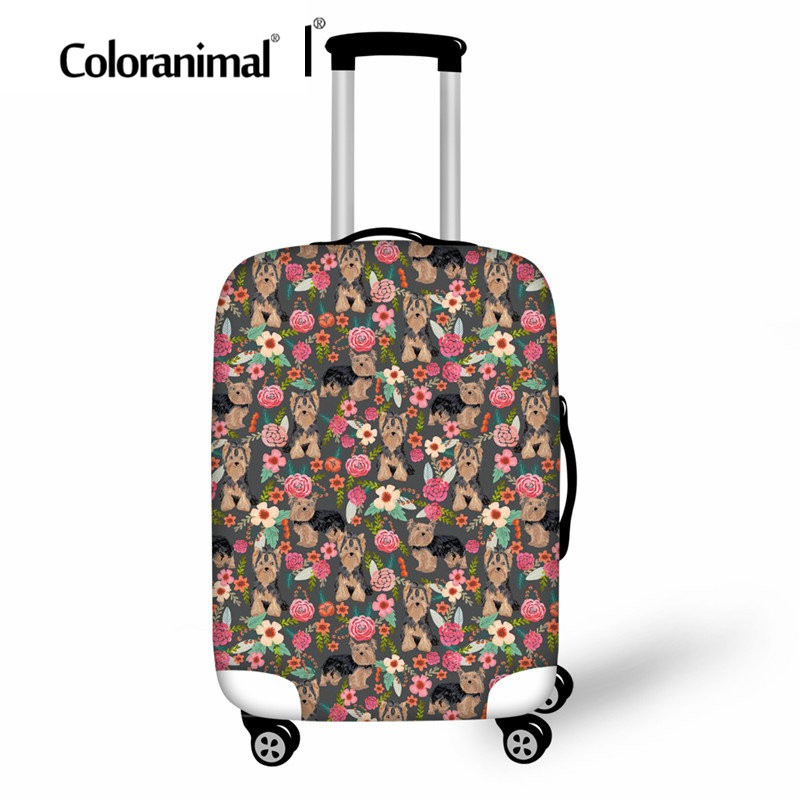 Coloranimal Strech Luggage Cover 3D Pet Dog Print Travel School Thick Suitcase Bag Yorkshire Terrier Luggage Protect Cover 18-30