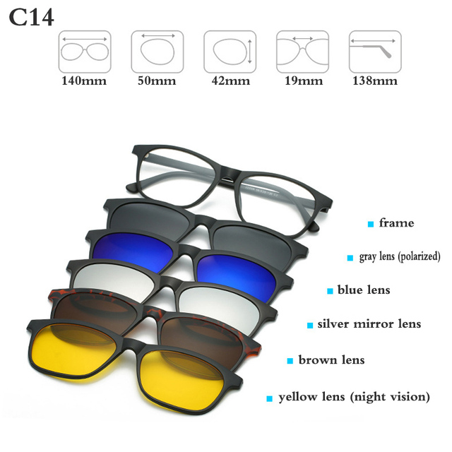 fc95ca6293 Товар Fashion Optical Spectacle Frame Men Women With 5 Clip On ...