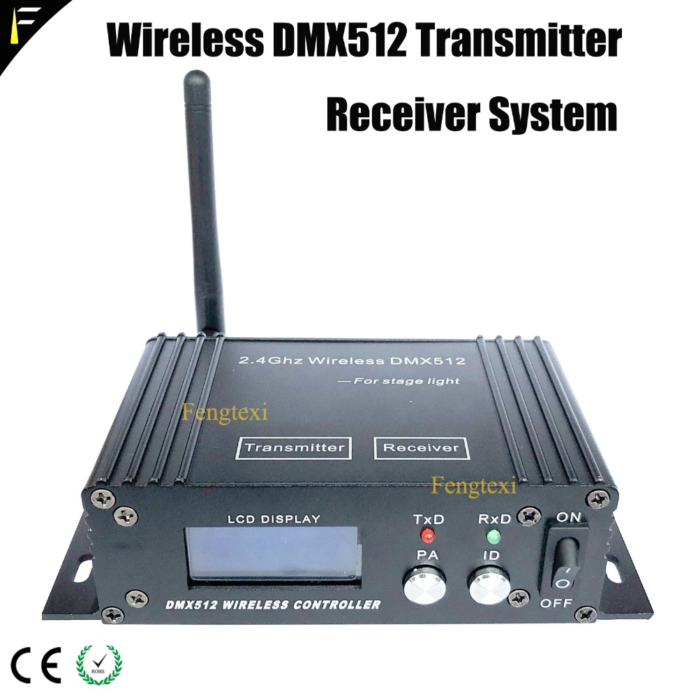 DMX512 Console Transmitter & Receiver Wireless System 2in1 LCD Display Mini Instrument Repeater For Stage Light Controller