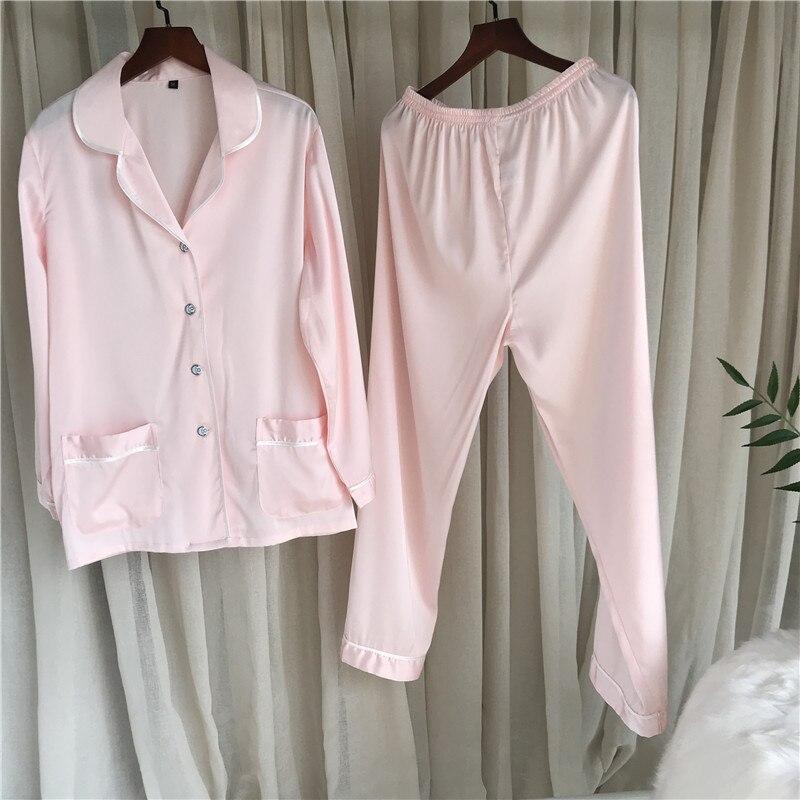 JRMISSLI Spring Long Sleeve Silk   Pajamas     Set   Two Pieces   Set   Women Sexy Nightwear for Women Sleepwear Long Pant   Set   casual homewe