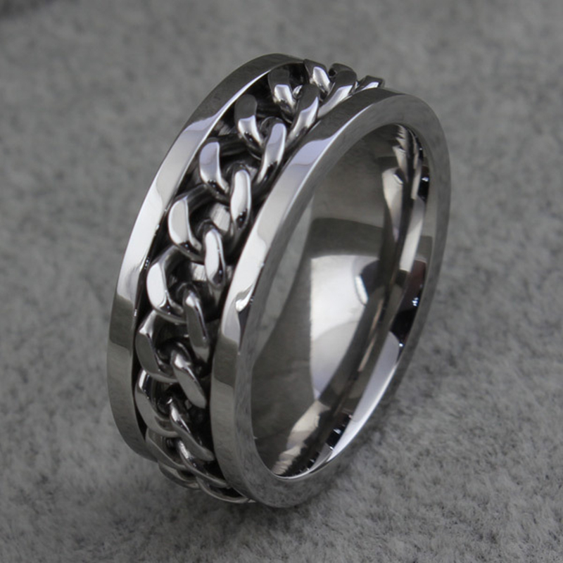 Stainless steel ring simple smooth with Rotatable chain rings men fashion jewelry anel masculino anillos bague