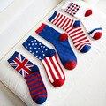 Звездообразный ключ флаг звезды и в полоску узор колено - высокая носки мужчины в 100% тенденция хлопок носки государственный флаг носки