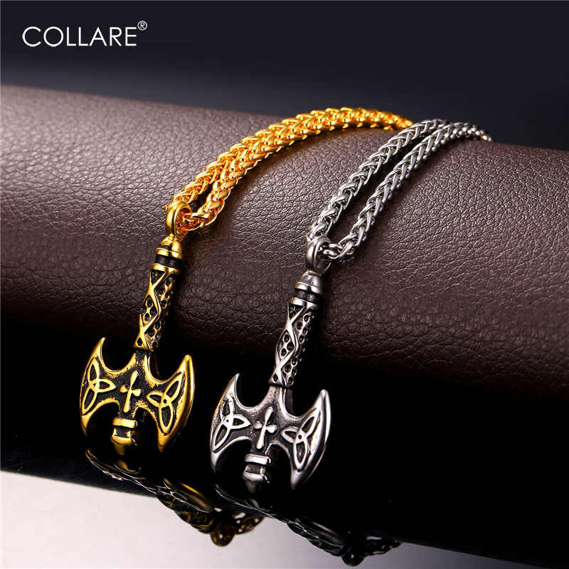 Collare Viking Axe krzyż wisiorek naszyjnik ze stali nierdzewnej potrójny róg Odin mężczyzn biżuteria złoty Hip Hop naszyjnik mężczyzn P135
