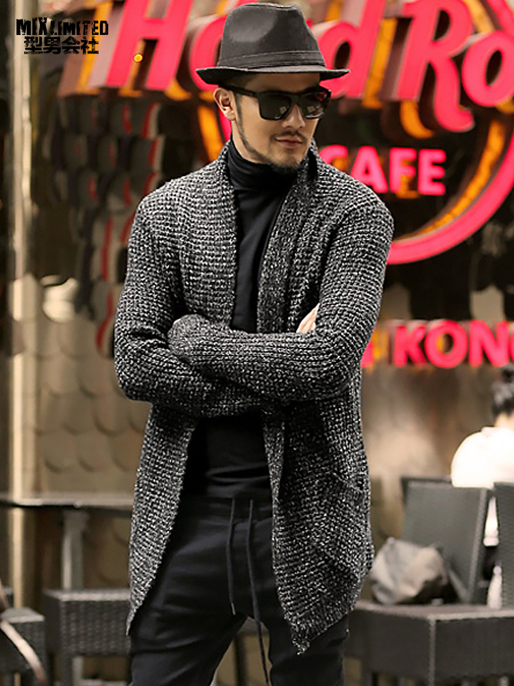 Men Slim Casual Woolen European Style Winter Fashion Knitted Cardigan Metrosexual Men Thick Warm Mohair Autumn Black Cardigan